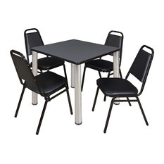 Kee 30-inch Square Breakroom Table- Grey/ Chrome & 4 Restaurant Stack Chairs- Black