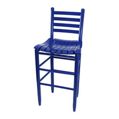 Asheville Wood Ladderback Counter Stool With Slat Seat No. 3324S Blue