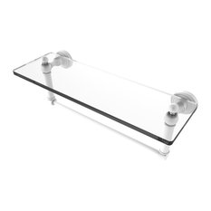 """Waverly Place 16"""" Glass Vanity Shelf With Integrated Towel Bar, Matte White"""
