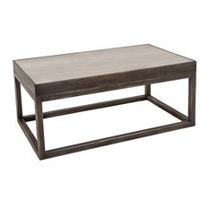 Sarreid Ltd.   Cocktail Table With Inset Travertine Top, Black, Gray    Coffee