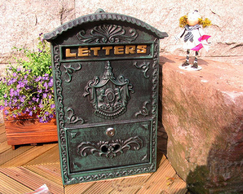 Victorian Style Antique Old French Style Cast Iron Mailbox