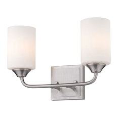 Ormond 2 Light Bath Vanity, Pewter With Cylindrical Opal Glass