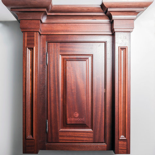 Recessed Alexandria pilasters on either side of this cabinet with our Geneva door in Mahogany Cabernet stain finish. EK21 moulding is used with EK32R ... & 1a6282f7026519de_7478-w500-h503-b0-p0--.jpg