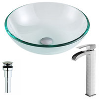 Etude Deco-Glass Vessel Sink,Lustrous Clear with Key Faucet,Polished Chrome