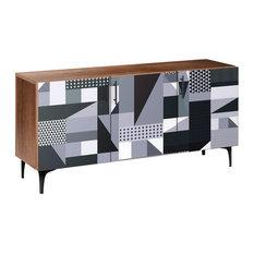 Grayscale Patchwork Arc Sideboard Walnut/Black