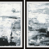 "Black and White Smudges II Diptych, 24""x18"""