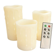 Round Melted Edge With Wax Drip Remote Controlled LED Candles, Set Of 3