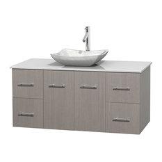 """Centra 48"""" Gray Oak Vanity, White Stone Top, Avalon Carrera Marble"""