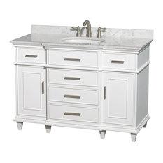 "Single Vanity, White, 48"", White Carrera Marble, Sink: Undermount Round"