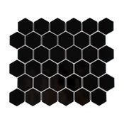 """Victorian Hex 2"""" Porcelain Mosaic Floor and Wall Tile, Set of 10, Glossy Black"""