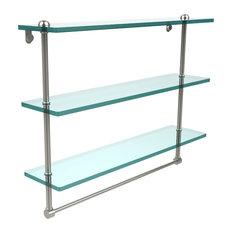 "22"" Triple Glass Shelf With Towel Bar, Polished Nickel"