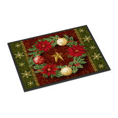 "Holly Wreath With Christmas Ornaments Indoor/Outdoor Mat, 18""x27"""