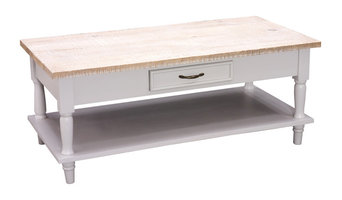 Cottonwood Coffee Table With 2 Drawers and Shelf, French Grey