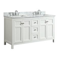 1st Avenue - Adley White Bathroom Vanity With Marble Top, 61'' - Bathroom