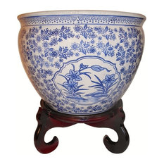 Asian Floral Blue and White Porcelain Fish Bowl, Indoor/Outdoor Use, 14""