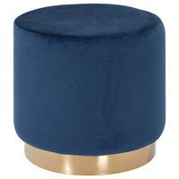 Modrest Santee Modern Blue Velvet and Gold Stool