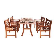 wood outdoor dining set patio furniture vifah malibu ecofriendly 5piece wood outdoor dining set 50 most popular sets for 2018 houzz