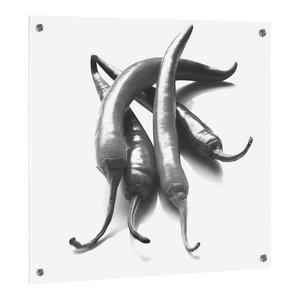 Pepper UV Print on ESG Glass Kitchen Splashback, 60x50 cm