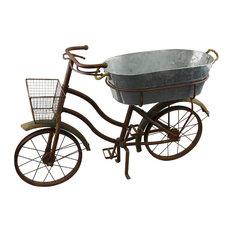 Rustic Bike Planter With Galvanized Bucket