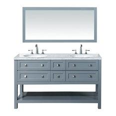 """Laurel Double Vanity Set With Mirror, Gray, 60"""""""