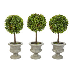 Pure Garden 3-Piece Faux Boxwood Round Topiary in Urns