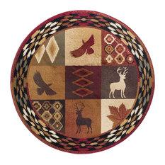 Diamond Deer Novelty Lodge Pattern Multi-Color Round Area Rug, 5' Round