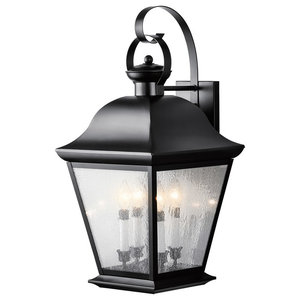 Kichler Lighting 9704BK Mount Vernon Painted Black Outdoor Wall Sconce