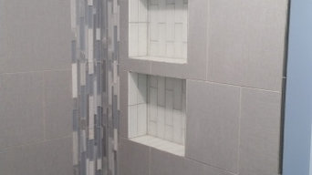 Tiled shower and bath