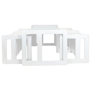 3 in 1 Adults Multifunctional Coffee Tables, 4-Piece Set, White