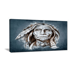 """""""Sketch of Tattoo American Indian"""" Portrait Canvas Print, 32""""x16"""""""
