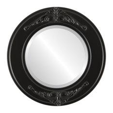 """Ramino Framed Round Mirror in Matte Black, 23""""x23"""""""