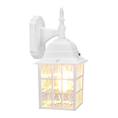 Leonlite  Outdoor Dusk to Dawn Wall Sconce, Water Ripple Wall Lantern, White