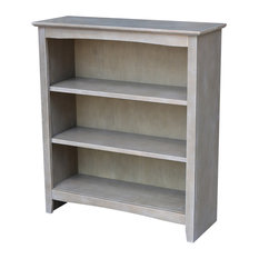 36 in. Shaker Bookcase in Washed Gray Taupe Finish