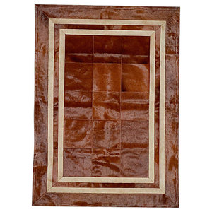 Patchwork Leather Cubed Cowhide SR1 Rug, Brown and Beige, 140x200 cm