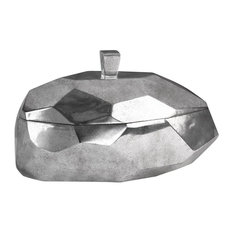 Abstract Silver Geometric Lidded Box, Fruit Gourd Shape Oval