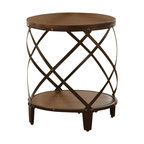 Steve Silver Winston Round End Table in Distressed Tobacco