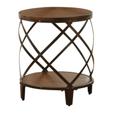 Steve Silver Company   Steve Silver Winston Round End Table, Distressed  Tobacco   Side Tables