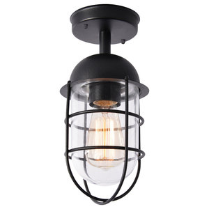 Cari 1 Light Caged Outdoor Lantern, Black