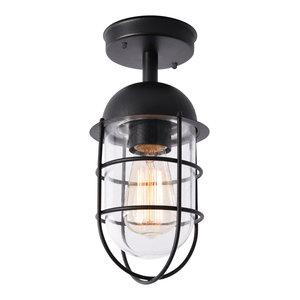 Cari 1 Light Caged Outdoor Lantern, Black