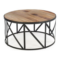 FastFurnishings10   Round Metal And Wood Drum Shaped Coffee Table   Coffee  Tables