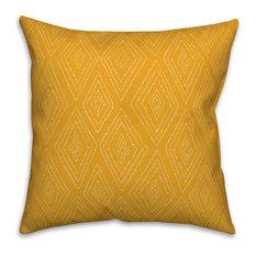 Yellow Tribal Diamond 18x18 Throw Pillow