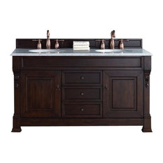 "60"" Double Vanity Cabinet, Burnished Mahogany, No Counter Top"