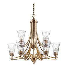 "Millennium Lighting Natalie 9 Light 32"" Chandelier With Glasss, Heirloom Bronze"