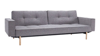 Innovation Living Splitback Sofa Bed, Grey, Bed Size: 115 X 210 Cm, Warm Wood Le