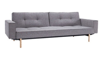 Innovation Living Splitback Sofa Bed, Grey, Bed Size: 115 X 210 Cm, Warm Wood Le