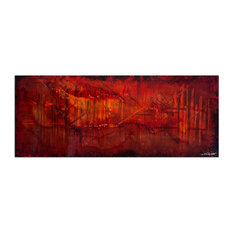 Dreamscape, Black & Red Abstract Art, Industrial Style Giclee on Metal