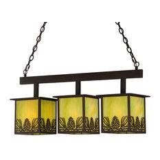 """Meyda Lighting 36""""L Mountain Pine 3-Light Island Pendant, Cafe Noir/Av"""