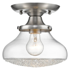 Asha 1-Light Small Semi-Flush Mount Pewter Clear Crushed Crystal Glass