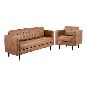 Pleasing Luke Leather Ava 2 Piece Sofa Set In Bomber Tan Ava Sl Cjindustries Chair Design For Home Cjindustriesco