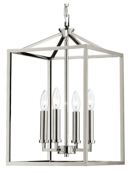 Gerard 4 light foyer candle chandelier lantern polished nickel